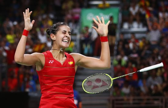 RIO DE JANEIRO, BRAZIL - AUGUST 19: Carolina Marin of Spain celebrates match point against V. Sindhu Pusarla of India during the Women's Singles Gold Medal Match on Day 14 of the Rio 2016 Olympic Games at Riocentro - Pavilion 4 on August 19, 2016 in Rio de Janeiro, Brazil. (Photo by Clive Brunskill/Getty Images)