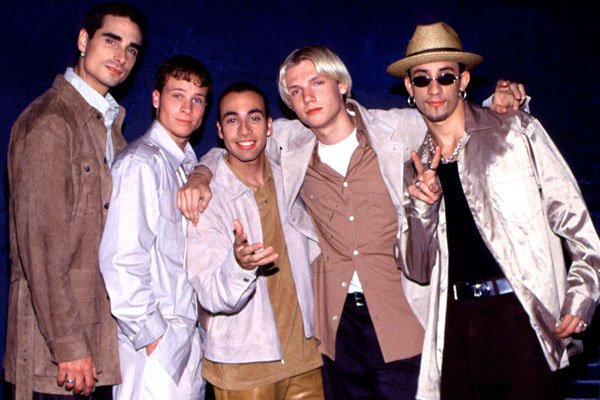 The Backstreet Boys during a video shoot at a warehouse October 24, 1997 in Glendale, California. (Photo by Ron Wolfson/WireImage)